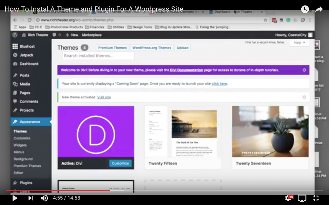 Step By Step Video – How To Instal A Theme and Plugins In WordPress