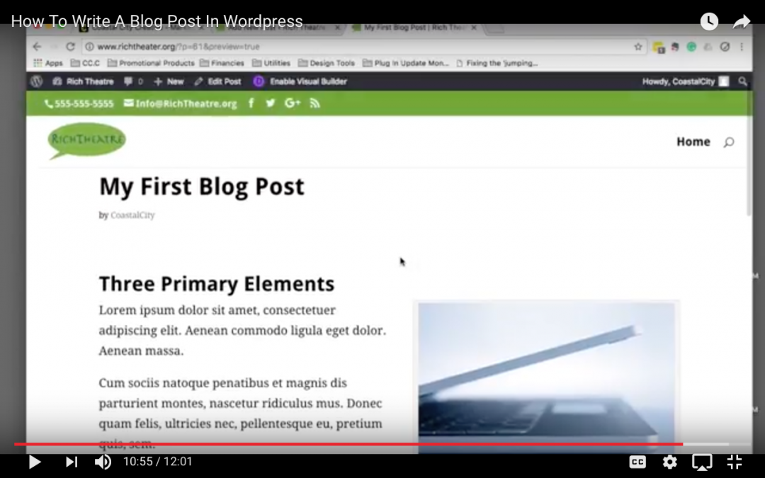 Step  By Step Video – How To Write Your First Blog Post In WordPress